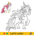cute unicorn with pink long mane coloring vector image