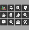 data analysis icon set on black background vector image