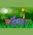 dinosaur hatching egg in park vector image vector image