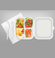 disposable tableware food realistic vector image