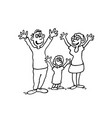 doodle of happy family outlined cartoon drawing vector image