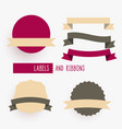empty ribbons and labels design elements set vector image vector image