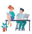 girl with a tablet and boy working on computer vector image