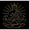 Gold Buddha sitting on Lotus with beam of light vector image vector image