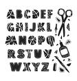 Hand drawn creative alphabet vector image