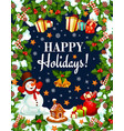happy winter holidays gifts greeting card vector image vector image