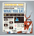 Health And Medical Newspaper Lay Out With Syringe vector image