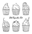 Ink hand drawn cupcakes set isolated vector image vector image