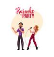 karaoke party contest banner poster postcard vector image vector image
