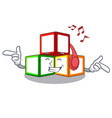 listening music wooden toy with character wooden vector image