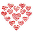 love hearts shape fabric textured icon vector image vector image