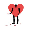 Love promoter Man in heart costume handing out vector image vector image