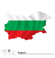 Map of Bulgaria with flag vector image vector image
