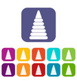 pyramid built from plastic rings icons set flat vector image vector image