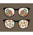 Retro sunglasses with details reflection in it vector image vector image