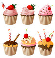set collection of birthday cake cartoon vector image vector image