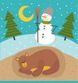 sleeping bear in lair season outside is winter vector image vector image