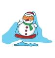 Snowman with surfing board cartoon vector image vector image