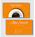 Templates of yellow cards for coffee shops and vector image vector image