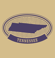 Tennessee map silhouette - oval stamp vector image