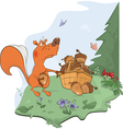 The squirrel and acorns vector image