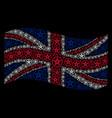 waving united kingdom flag pattern of star vector image