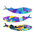 whale with memphis pattern geometric elements vector image