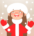 Winter happy girl vector image vector image