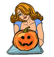 woman invites on halloween holds a tray pumpkin vector image vector image