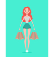 Young hipster woman with shopping bags Design vector image vector image