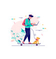 young man freelancer with dog using laptop run on vector image vector image