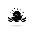 sun icon with paper boat black vector image