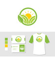 agriculture logo design with business card and t vector image