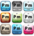 An icon showing the chemical Promethium vector image vector image