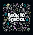 back to school promo banner design black vector image