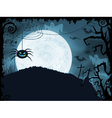 Blue Halloween background with scary spider vector image vector image