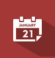 calendar icon with shade on red background vector image vector image