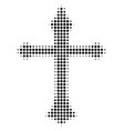 christian cross halftone icon vector image