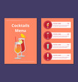 cocktail menu advertisement poster with prices vector image