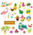 collection cute summer characters vector image