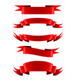 collection of red empty ribbon banners vector image