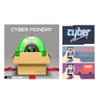 Digital cyber monday sale banner vector image vector image