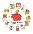 finance and banking concept - piggy bank vector image vector image