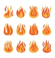 Fire flame silhouette set vector image