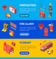firefighter man and equipment banner horizontal vector image vector image
