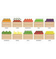 fruits and berries in wooden box1 vector image vector image