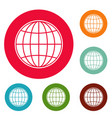 global icons circle set vector image vector image