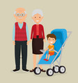 grandparents couple with baby avatars characters vector image