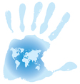 Handprint with six toes map of the World vector image