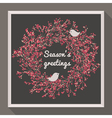 Holly wreath with two birds - Seasons greetings vector image vector image